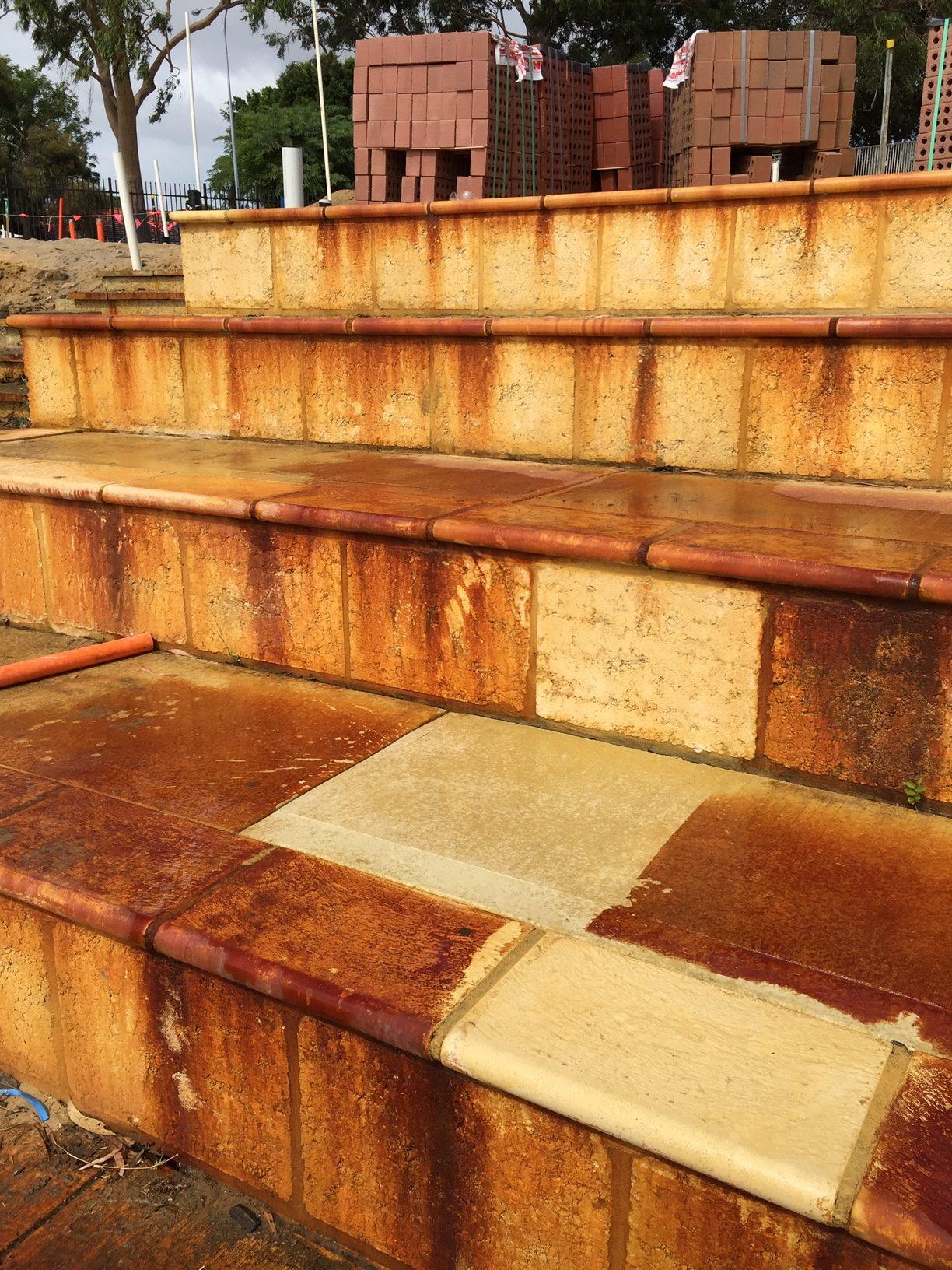 Iron Staining Bricks Before