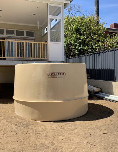 Rain water tanks underneath patio installation perth